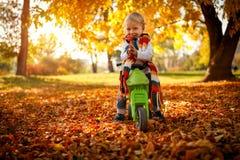 Smiling boy having fun on bikes in autumn park stock image