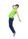 Smiling boy having fun or dancing Stock Images