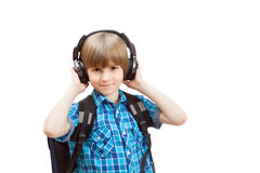 Smiling boy in the headphones Royalty Free Stock Images