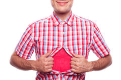 Smiling boy in hipster shirt. View of happy smiling hipster boy tearing off his shirt on white background Stock Photos