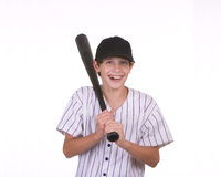 Smiling boy holding bat Royalty Free Stock Photos