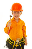 Smiling boy holding hammer Royalty Free Stock Photo