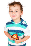 Smiling boy holding a toy house Stock Photography