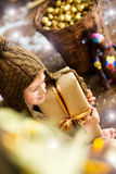 Smiling  boy holds Christmas gifts in his hands Stock Photography