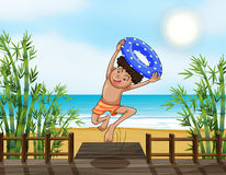 A smiling boy. Illustration of a smiling boy jumping on a beach Royalty Free Stock Photography