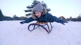 Smiling boy lying on sled rides from snow-covered hill in winter forest in slow motion. Smiling boy lying on a sled rides from snow-covered hill in winter forest stock video