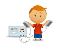 Smiling boy with medical defibrillator Royalty Free Stock Photography