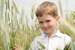Smiling boy outdoors Royalty Free Stock Photos
