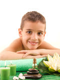 Smiling boy with the physiatrist in therapy Royalty Free Stock Photo