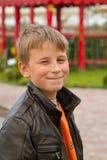 Smiling boy on a platform Royalty Free Stock Image