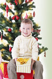 Smiling boy with present under Christmas tree Royalty Free Stock Images