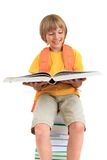 Smiling boy reading book Royalty Free Stock Images