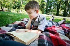 Smiling boy reading a book while lying on a mat in the park Royalty Free Stock Photos