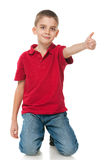 Smiling boy in red shirt Stock Image