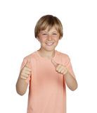 Smiling boy saying Ok Stock Photos