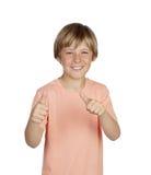 Smiling boy saying Ok Stock Photos