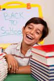 Smiling boy with school books Royalty Free Stock Images