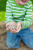 Smiling boy showing sunflower seeds Royalty Free Stock Photography