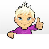 Smiling boy showing thumb. Vector illustration of a smiling boy showing thumb Stock Photos