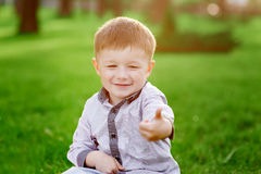 Smiling boy sits on the green grass in the summer park Stock Photography