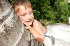 Smiling boy sitting on palm tree Stock Photo