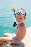 Smiling boy with snorkeling gear Royalty Free Stock Images