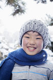 Smiling boy in the snow, portrait Royalty Free Stock Photos