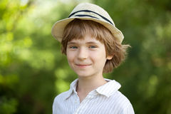 Smiling boy in the striped shirt Stock Image