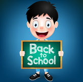 Smiling Boy Student Character Holding Green Chalkboard. With Back to School Text. Vector Illustrationn Royalty Free Stock Image