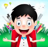 Smiling Boy Student Character Wearing Red Backpack full of School Supplies Royalty Free Stock Image