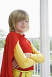 Smiling Boy In Superhero Costume Stock Photo