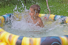 Smiling boy in the swimming-pool Royalty Free Stock Image
