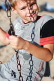 Smiling boy on the swing Royalty Free Stock Photos