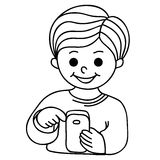 Smiling boy texting with cellular phone Stock Image