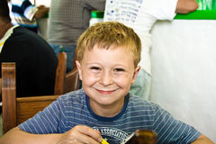 Smiling boy is waiting for Stock Image