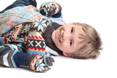 Smiling boy in warm clothes Stock Image