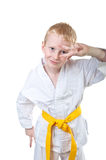 Smiling boy wearing tae kwon do uniform. And having fun Royalty Free Stock Photos