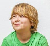 Smiling boy with white background stock photo