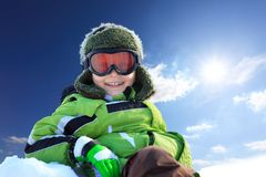 Smiling boy in wintry clothing Royalty Free Stock Images