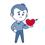Smiling boy witn red heart. Smiling character with broken heart for Valentine's day Stock Photos