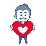 Smiling boy witn red heart Stock Images