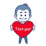 Smiling boy witn red heart Royalty Free Stock Photo
