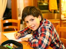 Smiling BOY writes on his notebook Royalty Free Stock Photography