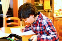 Smiling BOY writes on his notebook Royalty Free Stock Image