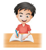 A smiling boy writing. Illustration of a smiling boy writing on a white background Stock Images