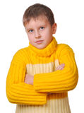 Smiling boy in yellow striped sweater Royalty Free Stock Image