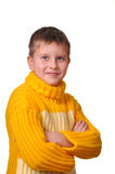 Smiling boy in yellow striped sweater Stock Photo