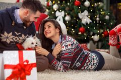Boyfriend giving puppy dog as Christmas present to girlfriend Stock Image