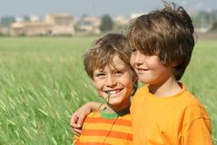 Smiling boys. Friends, brothers, healthy Stock Image