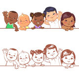 Smiling boys and girls of different races. Multinational baby portrait. Multi-ethnic set of babies. Diverse nationalities. Toddlers holding blank banner. Vector Royalty Free Stock Photo